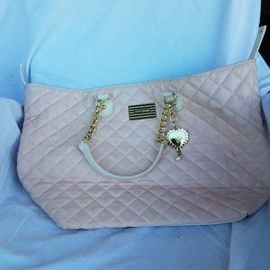 Pink quilted Betsey Johnson shoulder bag